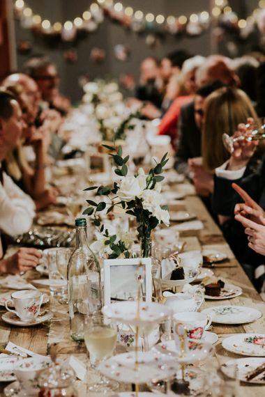 Wedding Table Decor   Gold, Grey & Green Rustic Wedding at The Gilbert White's 16th Century Hampshire Barn   Joasis Photography