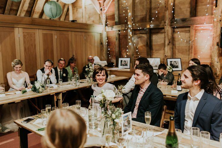 Wedding Reception   Gold, Grey & Green Rustic Wedding at The Gilbert White's 16th Century Hampshire Barn   Joasis Photography