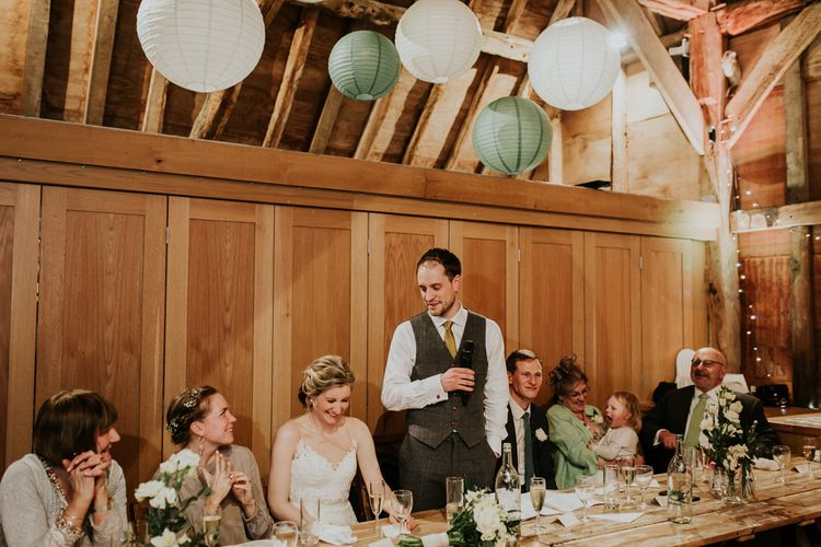 Wedding Reception Speeches   Gold, Grey & Green Rustic Wedding at The Gilbert White's 16th Century Hampshire Barn   Joasis Photography