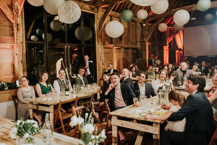 Evening Reception   Gold, Grey & Green Rustic Wedding at The Gilbert White's 16th Century Hampshire Barn   Joasis Photography