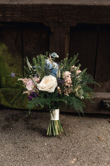 Pastel Pink, White and Blue Hand Tied Wedding Bouquet with Ribbon