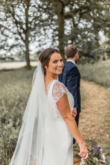 Beautiful Bride with Natural Makeup in Charlie Brear Torum Wedding Dress
