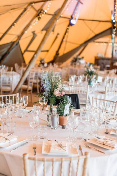 Plant Pot Table Centrepiece in Teepee Reception