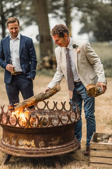 Fire Pit at Teepee Outdoor Wedding