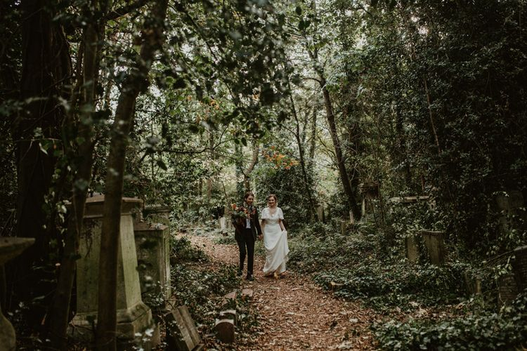 Bride and Groom Portrait in the Forest