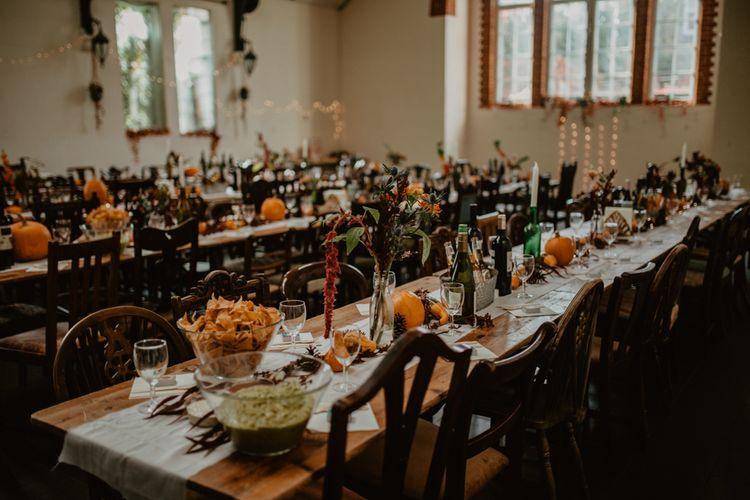 Autumn Wedding Table Decor with Pumpkins