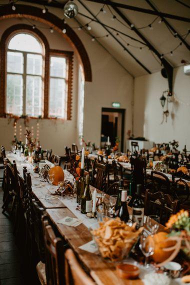 Brown and Orange Wedding Reception Decor