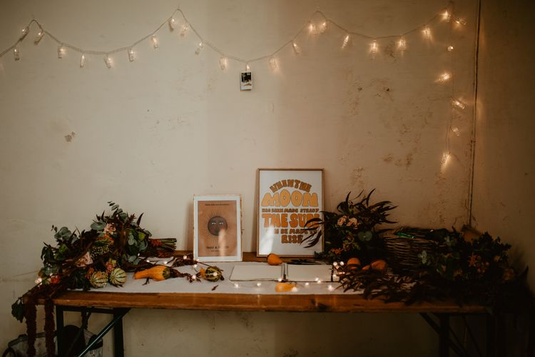 Wedding Guest Book Table with String Light Decor