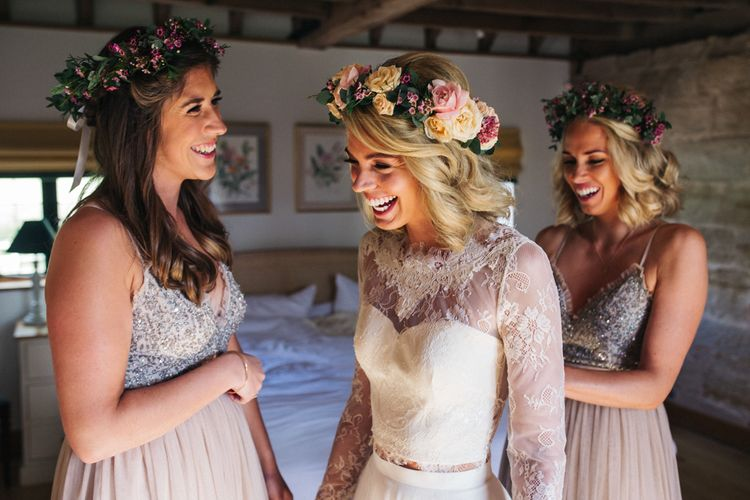 Wedding Morning Bridal Preparations with Bridesmaids in Needle & Thread Dresses and Flower Crowns