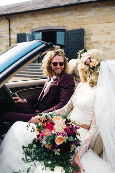 Bride in Separates and Flower Crown with Groom in Burgundy Suit