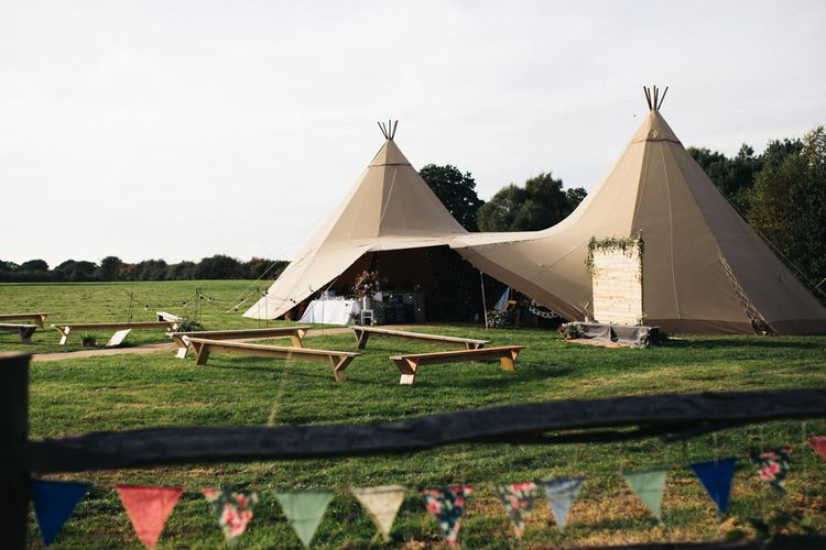 Top Hat Tipi Wedding  in a Field