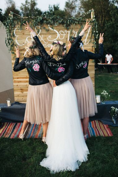 Bridal Party in Personalised Hand-Painted Leather Jackets