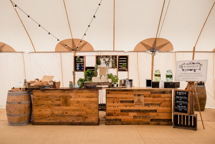 Rustic Bar For Sperry Tent Wedding // Sperry Tent Wedding With Romantic Meadow Inspired Styling