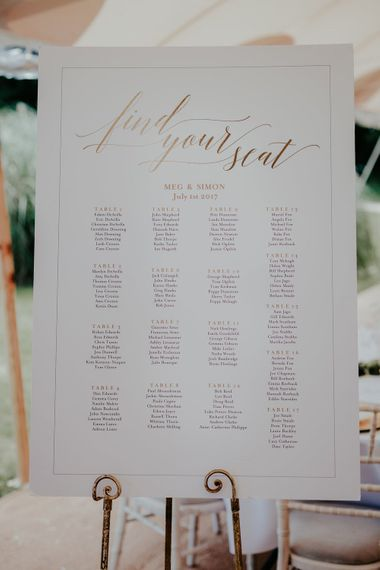 Pink & Gold Table Plan For Wedding // Image By Olivia Whitbread Roberts Fine Art Photography