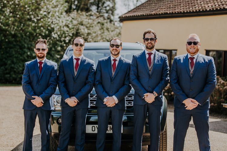Groomsmen In Blue Suits From Next // Burgundy Off The Shoulder Bridesmaids Dresses From ASOS For Rustic Wedding At Haughley Park With Images From Paul & Nanda