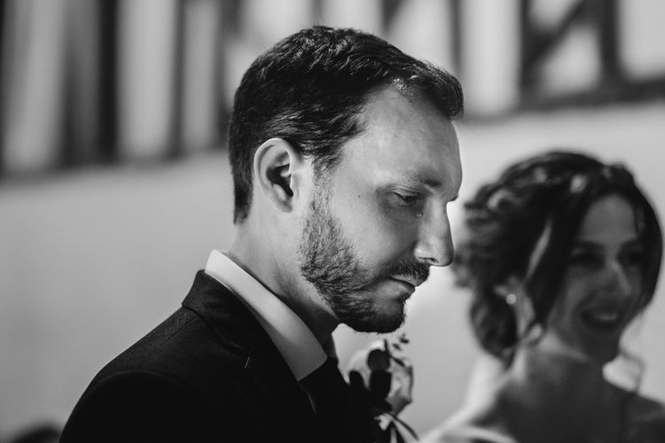 Emotional Groom During Wedding Ceremony // Burgundy Off The Shoulder Bridesmaids Dresses From ASOS For Rustic Wedding At Haughley Park With Images From Paul & Nanda