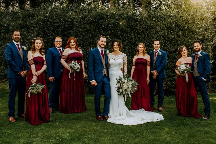 Burgundy Off The Shoulder Bridesmaids Dresses From ASOS For Rustic Wedding At Haughley Park With Images From Paul & Nanda