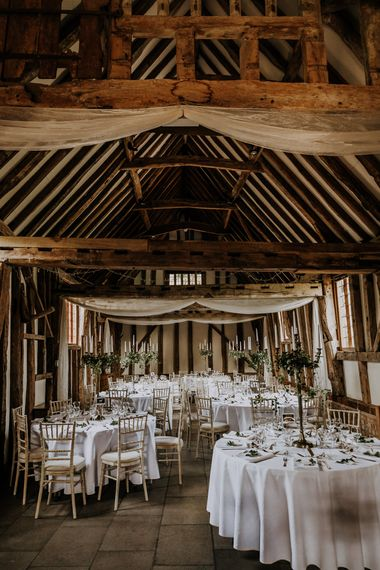 Barn Wedding With White Linen And Ivy Details // Burgundy Off The Shoulder Bridesmaids Dresses From ASOS For Rustic Wedding At Haughley Park With Images From Paul & Nanda