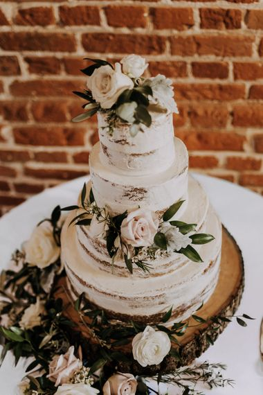 Semi Naked Wedding Cake // Burgundy Off The Shoulder Bridesmaids Dresses From ASOS For Rustic Wedding At Haughley Park With Images From Paul & Nanda