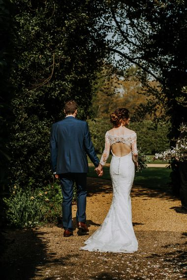 Bride In St Patrick Dress With Keyhole Back // Burgundy Off The Shoulder Bridesmaids Dresses From ASOS For Rustic Wedding At Haughley Park With Images From Paul & Nanda