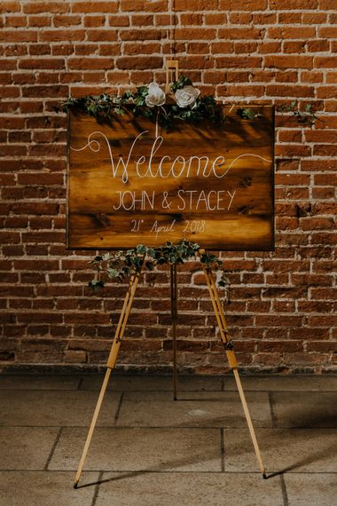 Welcome Sign For Wedding // Burgundy Off The Shoulder Bridesmaids Dresses From ASOS For Rustic Wedding At Haughley Park With Images From Paul & Nanda