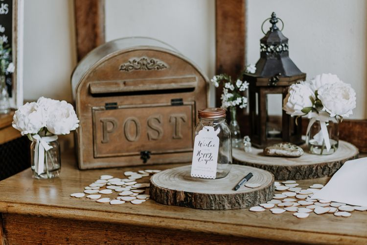 Wedding Post Box For Cards // Burgundy Off The Shoulder Bridesmaids Dresses From ASOS For Rustic Wedding At Haughley Park With Images From Paul & Nanda