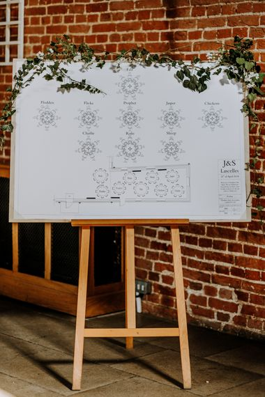 Elegant Table Plan For Wedding // Burgundy Off The Shoulder Bridesmaids Dresses From ASOS For Rustic Wedding At Haughley Park With Images From Paul & Nanda