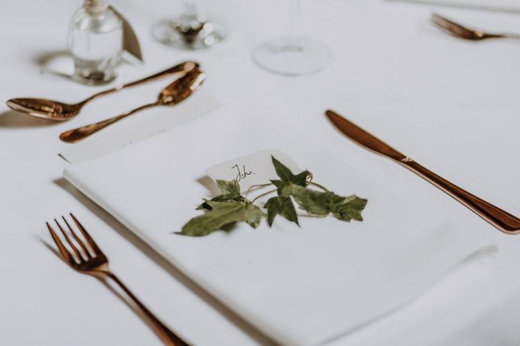 Foliage Details For Place Settings // Burgundy Off The Shoulder Bridesmaids Dresses From ASOS For Rustic Wedding At Haughley Park With Images From Paul & Nanda