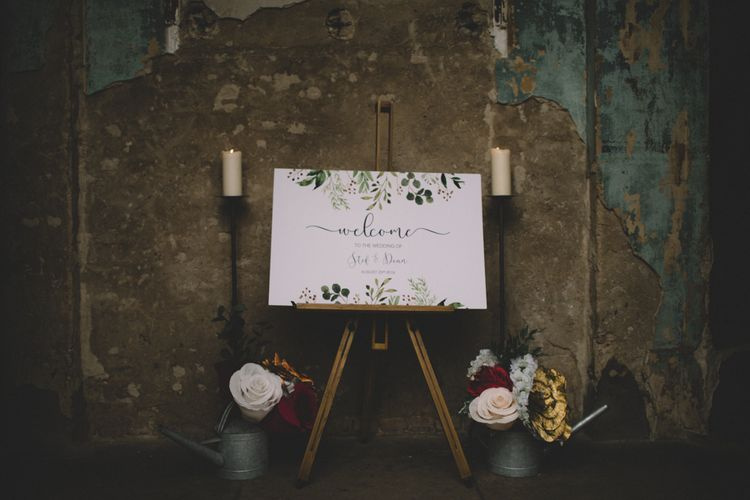 Welcome Sign For Wedding // The Clapton Country Club LondonWedding With Bride In Embellished Dress With Images From Carrie Lavers Photography