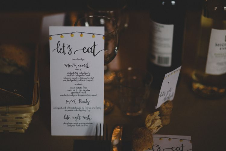 Wedding Menu Card // The Clapton Country Club London Wedding With Bride In Embellished Dress With Images From Carrie Lavers Photography