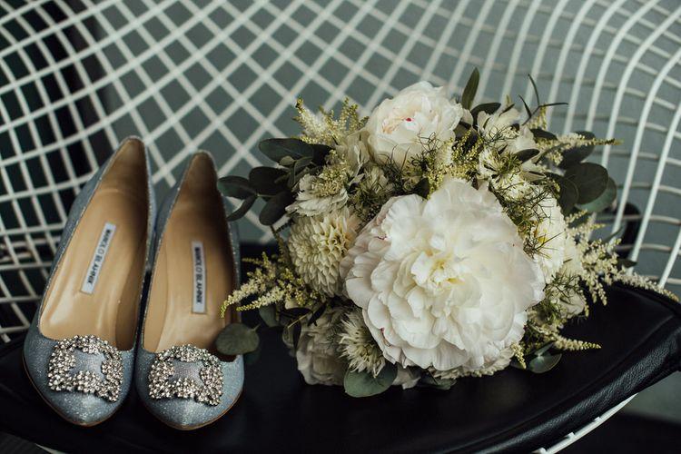 Manolo Blahnik Wedding Shoes with Pom Pom Dahlia and Peony Wedding Flowers