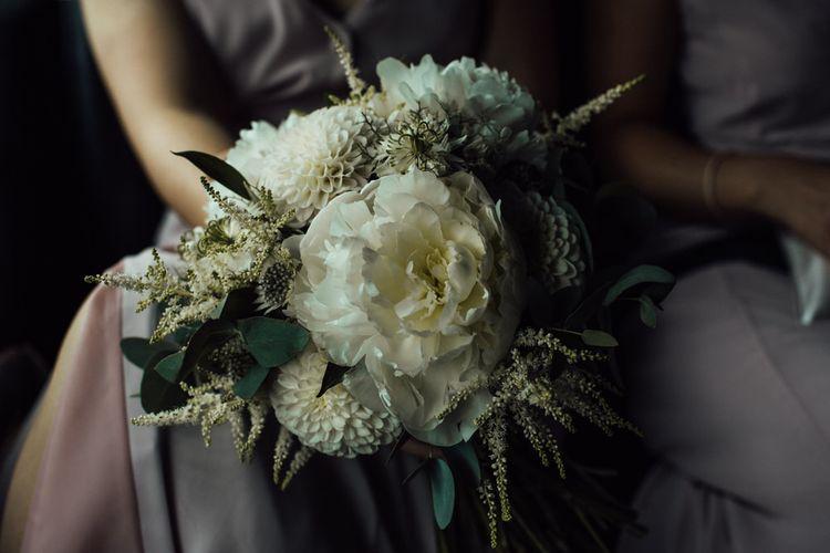 White Pom Pom Dahlia and Peony Wedding Flowers with Nude Bridesmaid Dress for London City Wedding