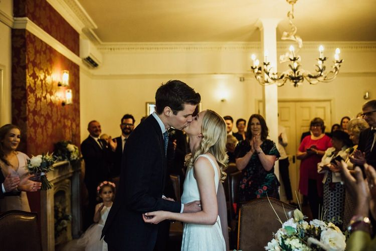 Bride and Groom Tie the Knot at Registry Office for London City Wedding Day