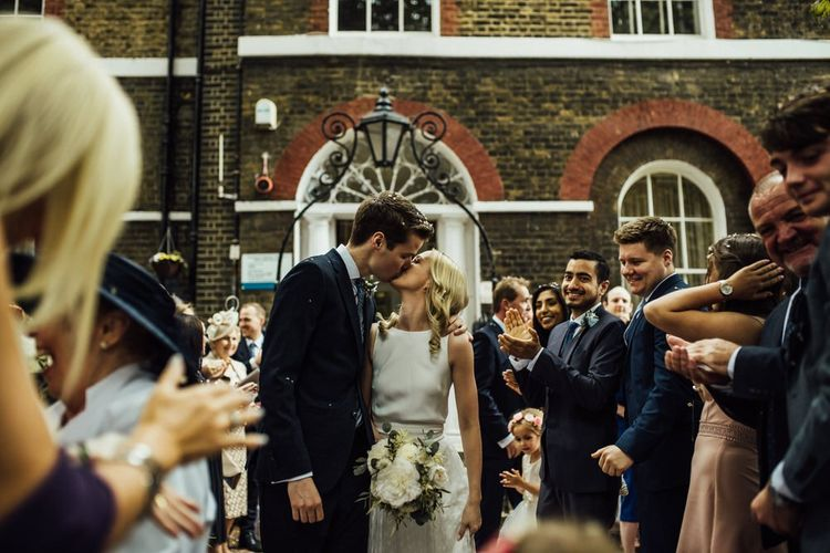 Urban City London Wedding at Registry Office with White Wedding Bouquet and Nude Bridesmaid Dresses