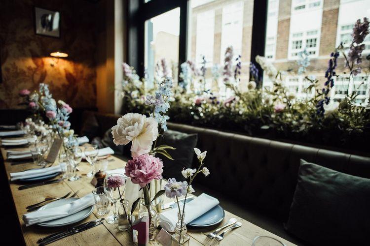 Pom Pom Dahlias and Peony Floral Wedding Table Decorations at City Wedding
