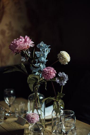 Pink and White Pom Pom Dahlia Flowers at City London Wedding Reception