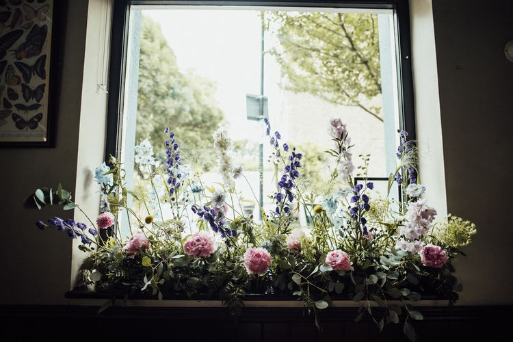 Pink and Purple Summer Wedding Flower Decor at City Wedding Reception in London