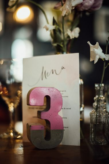 Calligraphy Wedding Menus and Concrete Table Numbers