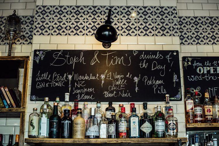 Chalkboard Wedding Signs and Pub Reception for Urban City Day