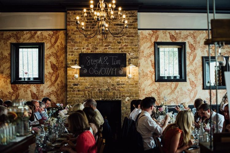 Guests at Pub Reception for City London Summer Wedding