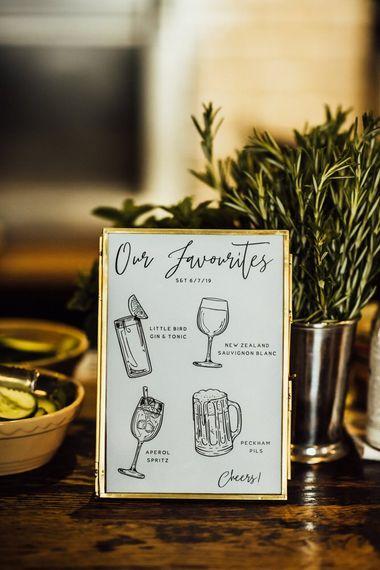 Personalised Drink Menus at Intimate London City Wedding at Pub Reception