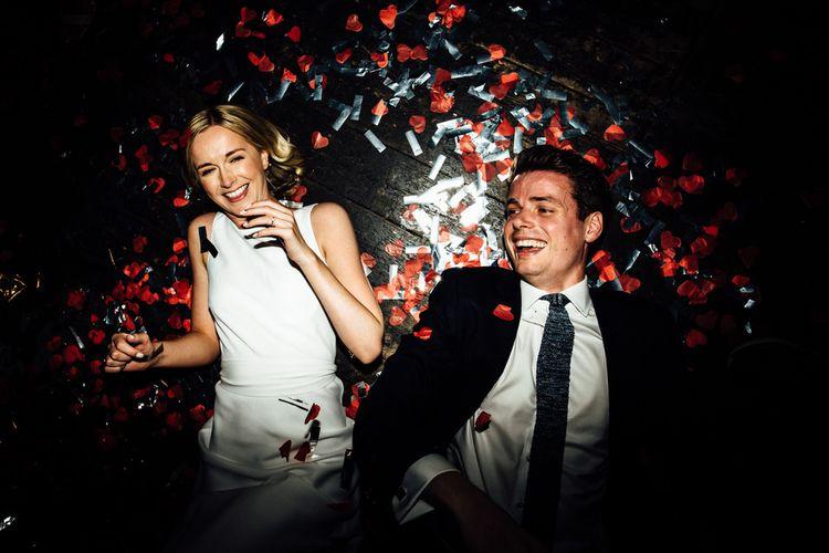 Bride and Groom Wedding Celebrations Floor Confetti Shot