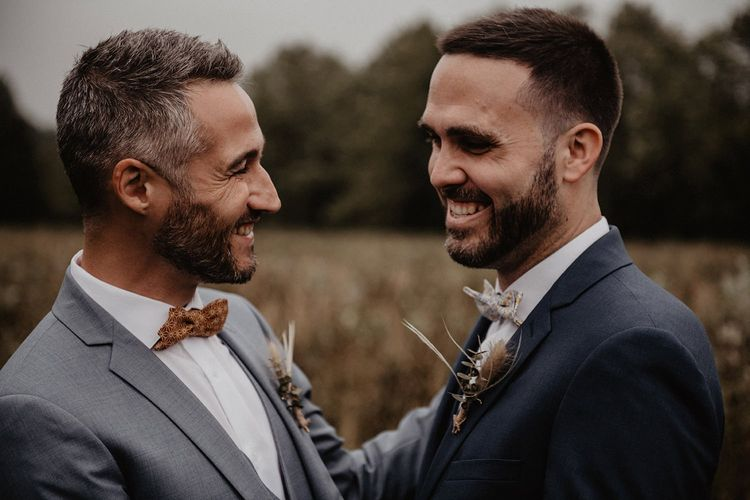 Grooms bow ties at  first look at destination wedding