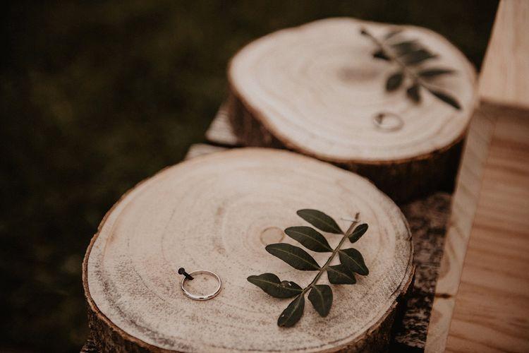 Rustic tree slice wedding ring holders