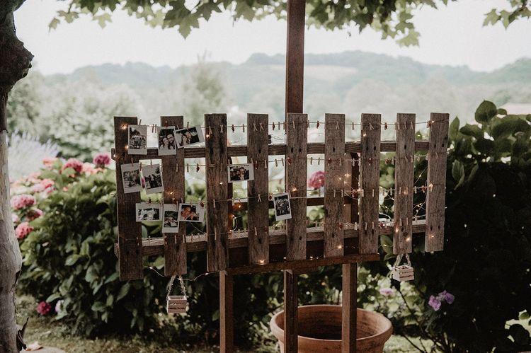 Homemade photo booth at wedding