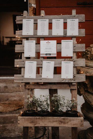Homemade wooden wedding seating chart