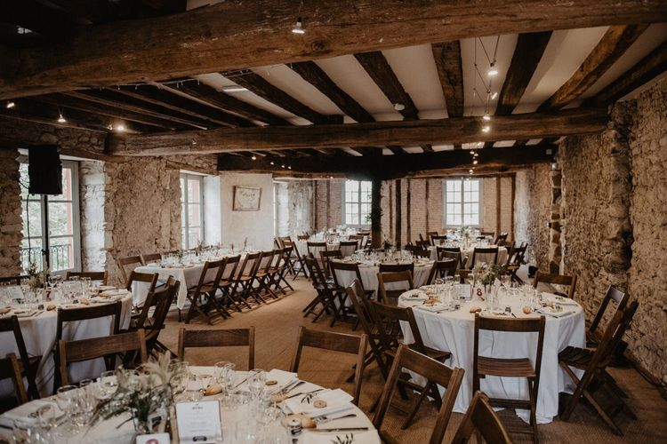 Wedding table set-up at French wedding venue