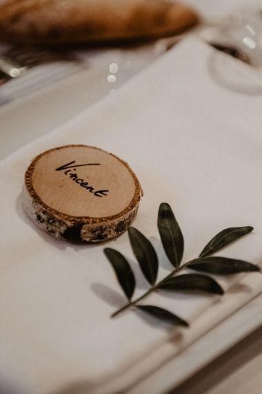 Rustic tree slice wedding place names