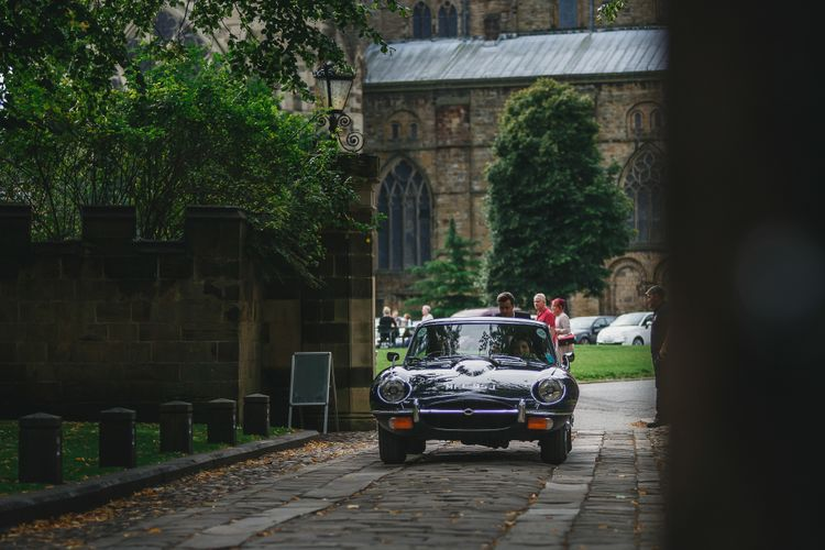 Vintage Wedding Car // Choreographed First Dance For Wedding At Durham Castle Wedding With Classic Styling And Bride In Alexander McQueen Images From Stan Seaton