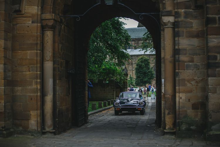 Vintage Wedding Car // Choreographed First Dance For Wedding At Durham Castle Wedding With Classic Styling And Bride In Claire Pettibone & Alexander McQueen Images From Stan Seaton